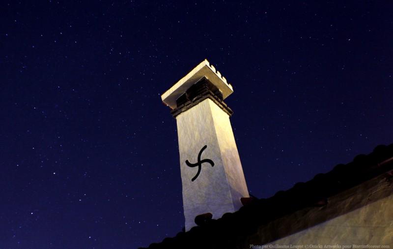 Bask cross and stars at night