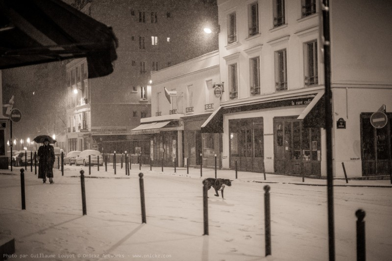 Snow in Montmartre - Paris France