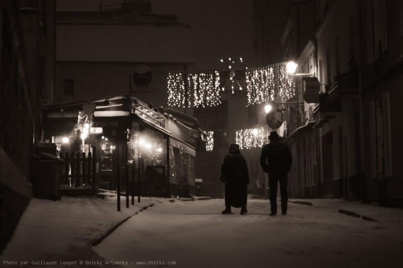 Black night and White snow in Paris